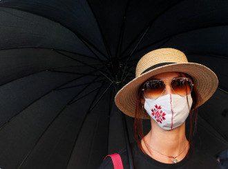 коронавирус, девушка, Киев, маска, погода